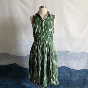 TYLHO Anthropologie Green Polka Dot Dress